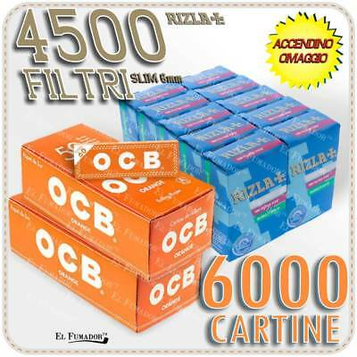 6000 Cartine OCB ORANGE CORTE ARANCIONI Bianche + 4500 Filtri RIZLA SLIM 6mm