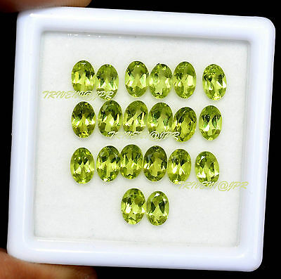 AAA Quality 15 Pieces Natural Peridot 4x6 MM Oval Cut Cabochon Loose Gemstone