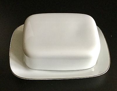 Thomas China Of Germany Medallion Platinum Thin Line Butter Dish  Perfect
