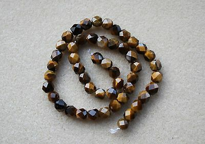 Tiger's Eye (Golden Brown) Hand Faceted Round - Full Strand
