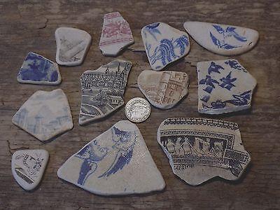 English Sea Glass Beach Found    Picture Sea Pottery   Shards  Pendents/mosaic