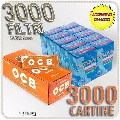 3000 Cartine OCB ORANGE CORTE ARANCIONI Bianche + 3000 Filtri RIZLA SLIM 6mm