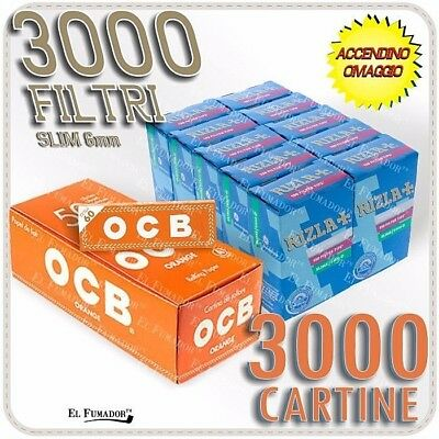 3000 Filtri RIZLA SLIM 6mm + 3000 Cartine OCB ORANGE CORTE ARANCIONI + ACCENDINO
