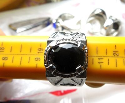Size 10 Vintage Jewelry Men's Ring in 925 Silver Plated With Black Onyx Stone