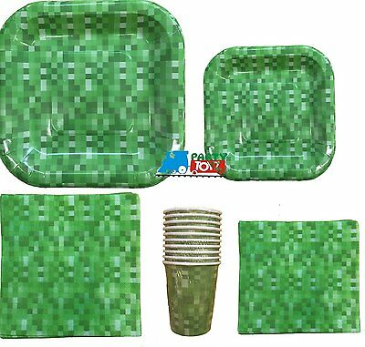 Minecraft Inspired Block Pattern Basic Party Pack for 10 Guests