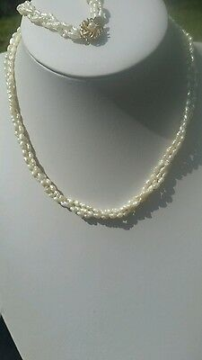Beautiful Genuine Triple Strand Fresh Water Pearl Necklace And Bracelet