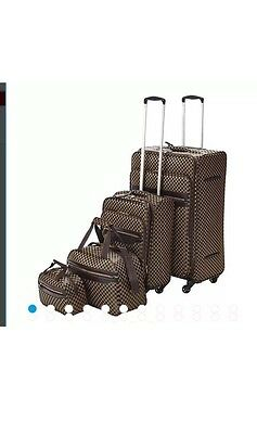 4 Wheel Check 4 Piece Luggage Case