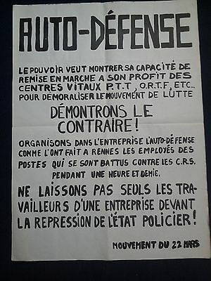 "AFFICHE ORIGINALE  Mai 68   ""AUTO DEFENSE [...] Mouvement du 22 mars"