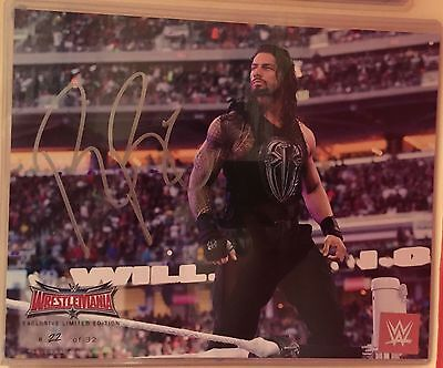 Wrestlemania 32 Exclusive Limited Edition Signed Roman Reigns RARE 8X10 WWE 2016
