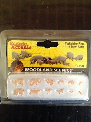 Woodland Scenics A2218. Yorkshire Pigs. 12 Pieces. N Scale.