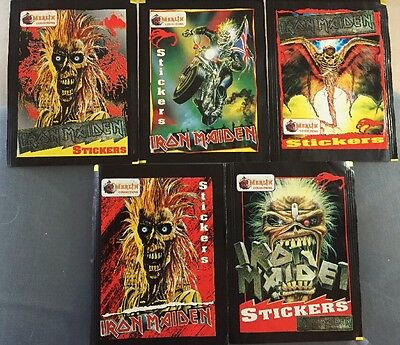 Iron Maiden merlin trading cards Empty Packets Set Of 5 1996 Scarce!
