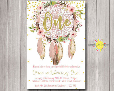 Printable Girls Birthday Invitation Floral Feathers Boho Dreamcatchers Confetti