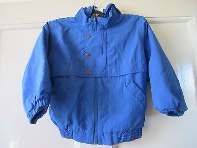 Girls Boots  vintage blue shell  jacket  lined hooded  Age 3-4 yrs