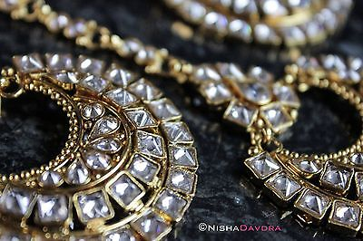 Chand Bali Gold Indian Kundan Earrings