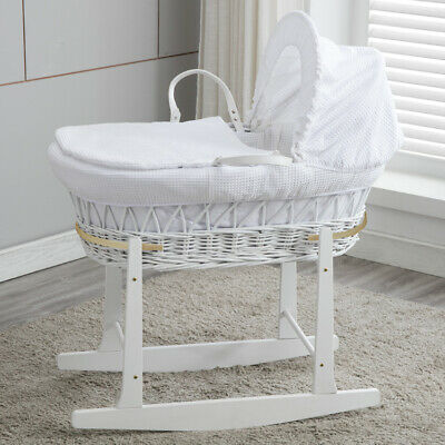 Baby Moses Basket Bassinet White Wood Head Toe Rocking & Waffle Bedding