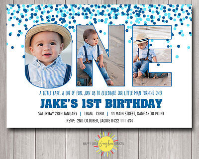 Printable Boys Birthday Invitation Photo Letters Confetti Blue Any Age 1st