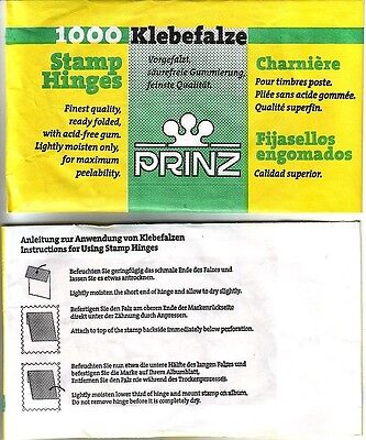 1000 Prinz Stamp Hinges Ready Folded Acid-Free Gum Free Post