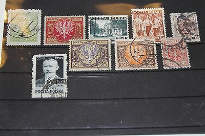 Poland 9 Different Stamps Used Lot (Cat.x)