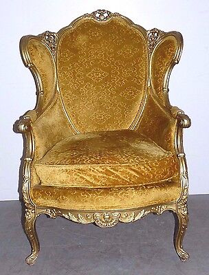 Vintage French Louis XV Gold Gilt Wing Back Bergere Lounge Arm Chair 022703