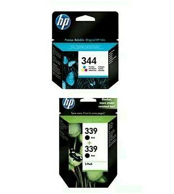 4X HP ink cartridges. 1X 344 (TRI COLOR) & 3X 339 (B&W) NEW. UNOPENED. RRP £134!