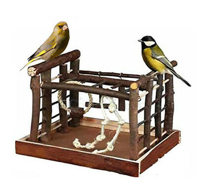 Pet Bird Toy Play Ground Ladder & Rope Budgie Canary Swing Perch Natural Wood