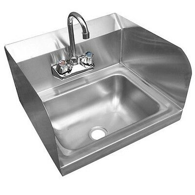 Stainless Steel Wall-Mount Hand Sink with Faucet, Drain & Side Splashes NSF