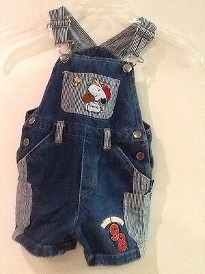 Peanuts Snoopy Woodstock Denim Shorts Overalls, size 18 mo