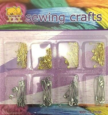 Safety Pins Assorted Sizes 80-100 Pcs Mix Gold /& Silver Metal Steel Sewing Kit