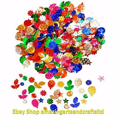 2000+ Sequins Cup Loose Craft Sewing Colours Embellishments 100g Assorted Shapes