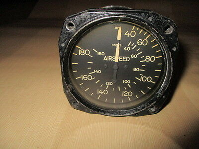 Vintage Airspeed Indicator MPH & KNOTS by Aircraft Instruments & Development Inc