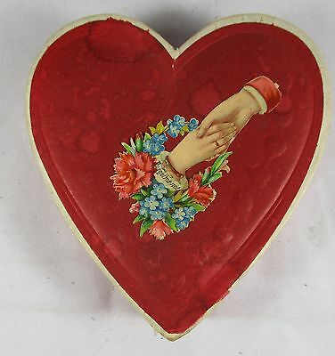 Valentine Day Candy Container Red Heart with Antique Vintage Embossed Scrap