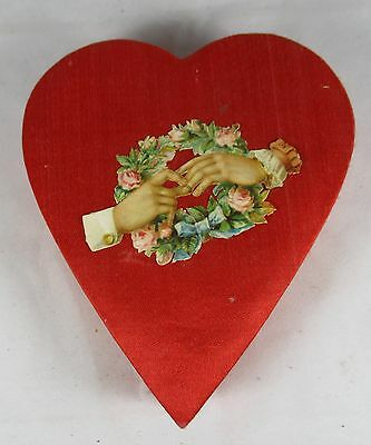 Valentine Day Candy Container Red Satin Heart/Embossed Victorian Scrap Japan