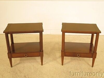 F41627: Pair BAKER 1 Drawer French Empire Style Nightstands
