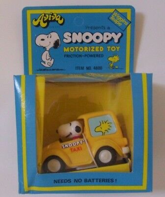 AVIVA SNOOPY YELLOW TAXI MOTORISED VINTAGE TOY 1970s BOXED