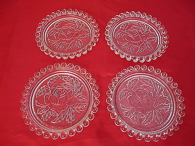 Set of 4 Imperial Glass Candlewick Forever Crystal Coasters Rose Beaded