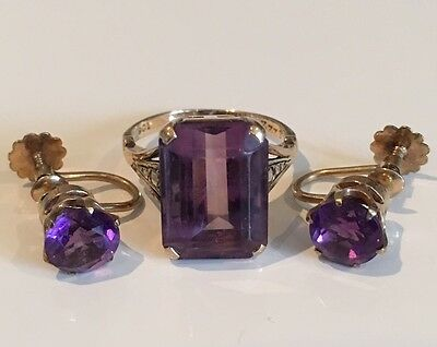 Art Deco 9ct Gold Amethyst Ring and Matching Earrings