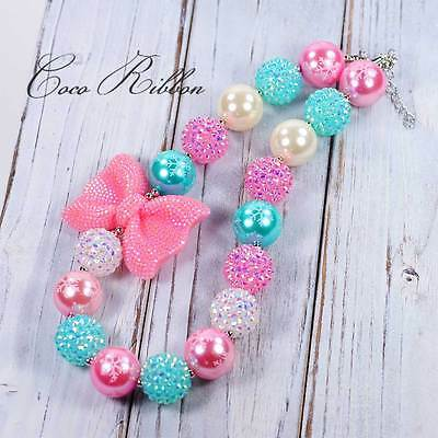 Pink Bow Aqua Pearl Bubblegum Bead Chunky Necklace for Kid Child baby