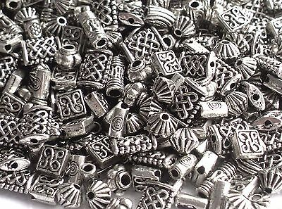 100 Mixed Celtic Tibetan Silver Carved Metal Alloy Spacer Beads