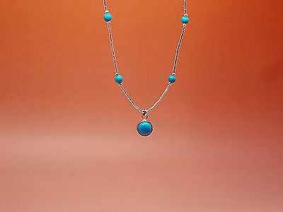 """Native American Sterling Silver & Turquoise Necklace """"Round & Bead"""""""