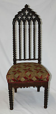 Circa 1850s Gothic Revival Upholstered Carved &Turned Walnut Slipper Chair (5680