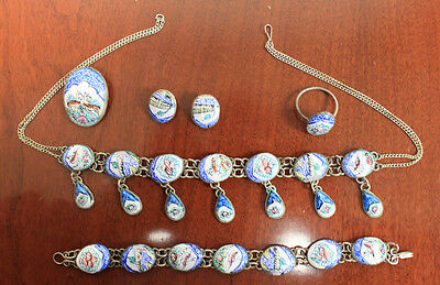 Persian Enamel Hand Painted Jewelry Set in Perfect condition (7494)