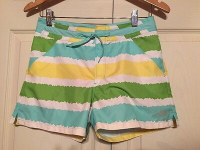 New! THE NORTH FACE Girl's M 14/16 striped Short Board Water UPF 50  Shorts