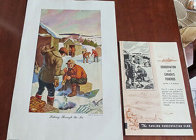 1946 Carling Brewery Conservation Club Picture/Pamphlet Fishing Through The Ice