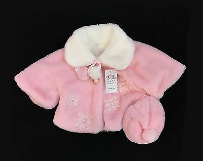 Baby Girl Faux Fur Cape with Matching Bonnet/ Pearl Details/Soft and Cozy