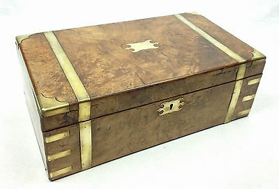 Antique Writing Slope Burr Walnut Brass Detailing High Quality Large Wooden Box