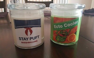Ghostbusters stay puft and ecto cooler candles