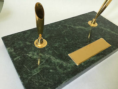 """New Marble PEN Holder 10x5"""" Desk Accessory Green Brass Vintage Engrave Plate"""