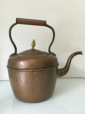 Vintage COPPER KETTLE Signed Gooseneck Antique Pot Patina French Country