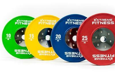 """Extreme Fitness® Olympic Standard Rubber Bumper Weight Plates Coloured Gym 2"""""""