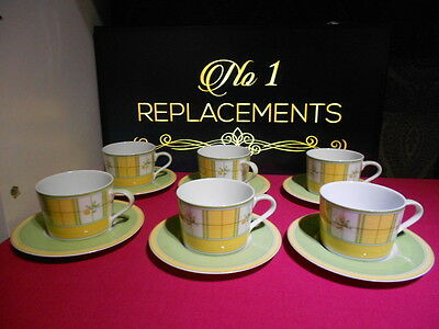 6 x M&S Marks and Spencers Yellow Rose Tea Cups and Saucers